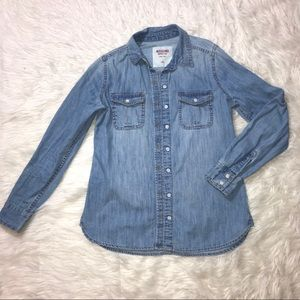 Merona denim chambray top sz S blue button front